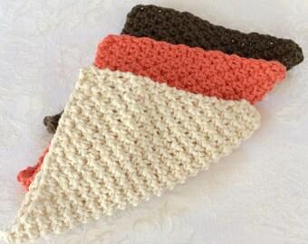 Eco Friendly Spa Washcloth Set Knit Facecloth 3 Pieces Wash Cloth Dish Cloth Kids Wipes Housewarming Gift Hostess Gift Stocking Stuffer