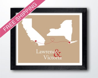 Custom Two States Art Print - Connecting Hearts - Engagement Gift, Custom Wedding Gift, Anniversary Gift, Long Distance Relationship Gift