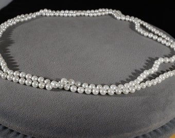 Vintage Traditional Style Faux Pearl Glass Beads Extra Long Necklace Jewelry    K#2