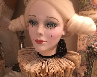 Vintage Mannequin Head, Hand Painted, Vintage Harlequin Clown Head