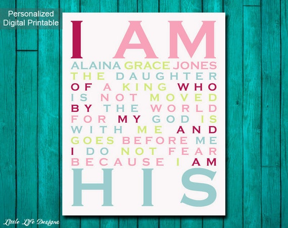 Christian Wall Decor For Nursery : I am his daughter of a king christian wall art nursery