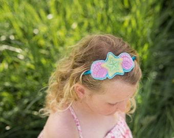 Seashell headband - felt pink seashell headband, Girls beach headband, holiday headband, hair accessories, photo prop, UK seller