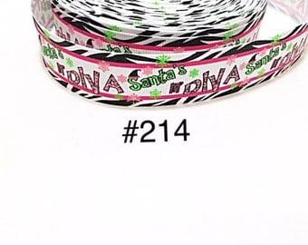 "3 or 5 yard - 1"" Christmas Santa Diva with Zebra Motif  Grosgrain Ribbon For Hair Bow"