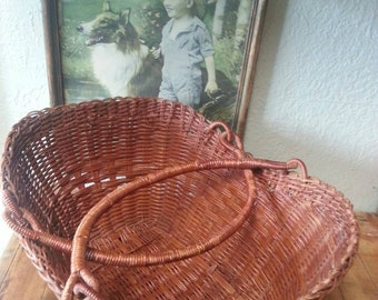Vintage Flower/Egg Etc. Woven Wicker Basket  with Handles
