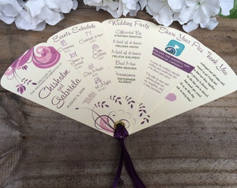 Swirl My Purple Wedding Programs • Unique Wedding Programs 5 Petals With Ribbon Detail ~ 107lb Metallic or 100lb Matte Cardstock