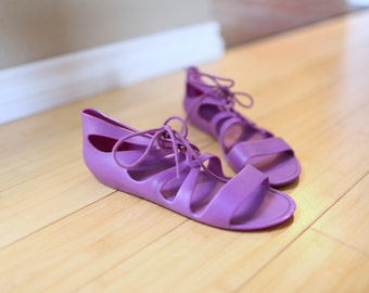 vintage purple strappy jelly gladiator sandals womens 6
