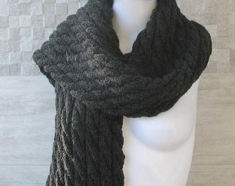 Men  scarf, charcoal knit mens scarf, winter accessories hand knit scarf. long scarf, hand knit wool scarf. Boyfriend gift, gift for him.
