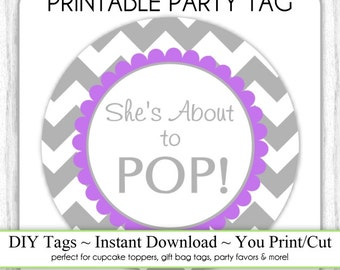 download gray chevron and purple she 39 s about to pop baby shower
