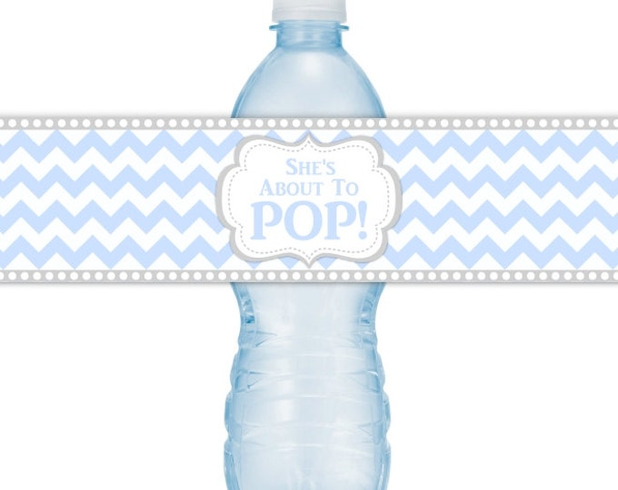She's About To Pop Water Bottle Labels, INSTANT DOWNLOAD, Blue Chevron About to Pop Baby Shower, you print, you cut, DIY