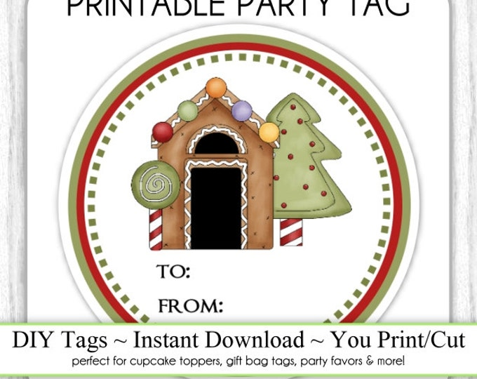 Gingerbread House Christmas Printable Tags, Holiday Printables, Xmas Tags, DIY Party Tags, You Print, You Cut, INSTANT DOWNLOAD