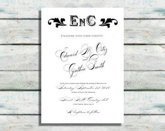 Monogram Wedding Invitations, Black and white wedding invites