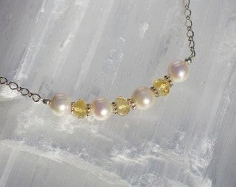 PP4 Natural pearl with briolette natural citrine