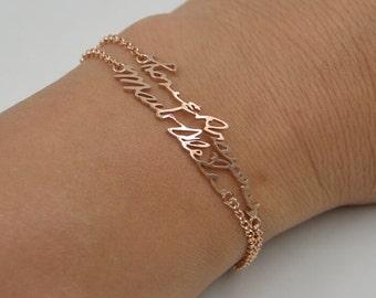 Personalized handwriting bracelet,Rose gold Handwriting Bracelet,925 silver Name bracelet plated rose gold,Bridesmaid Gift