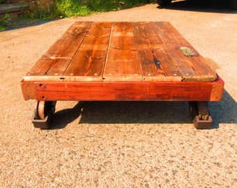 Hand Made Reclaimed Rolling Mahogany Frame Coffee Table