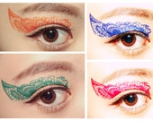 Value Set 4 Pairs Color Lace Eye Temporary Tattoo Christmas Holiday Makeup Eyeshadow Masquerade festival stocking stuffer color guard mask