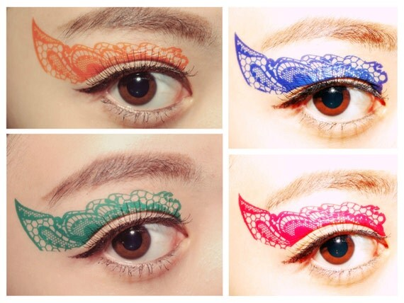 Value Set 4 Pairs Color Lace Eye Temporary Tattoo Makeup Eyeshadow Masquerade festival halloween makeup costume accessories color guard mask