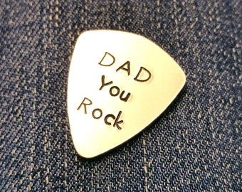 Hand stamped plectrum - DAD You Rock - Personalised Pick -  Guitar pick - Customizable
