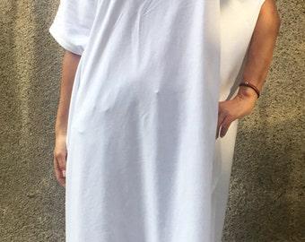 White Oversized  Tunic,Maxi Tunic, Asymmetrical Tunic,Casual Tunic,Day Dress,Oversized Dress