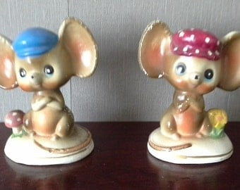 pair of vintage chalk mice