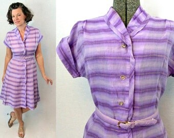 50s Dress / 1950s Dress / 50s Day Dress / 1950s Day Dress / Cotton Dress / Striped Dress / Purple Dress / Vintage Summer Dress