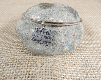 Quote Charm Bracelet Live Well Love Much Laugh Often Charm Bracelet