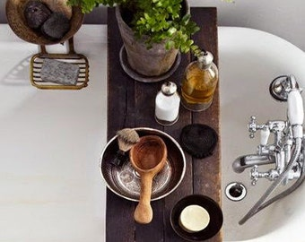 Bathtub Tray for Reading wood Caddy platter tray made of Salvaged Wood Spa Natural and Organic ...