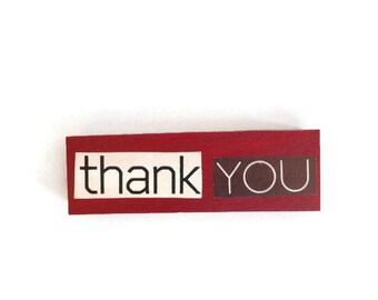 THANK YOU | Fridge Magnet | RED | Home Decor | Office magnet | Recycled Gift |  Teacher Gift | Give Thanks |