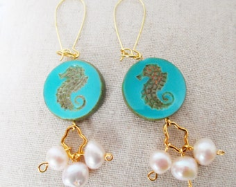 Seahorse & Pearl Drop Earrings