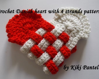 crochet danish heart with 4 strands- pattern only