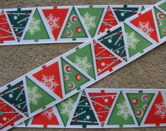 "3 yards Christmas Tree Ribbon Grosgrain Ribbon Hair Bow Ribbon 7/8"" Christmas Ribbon Winter ribbon Holiday Ribbon"