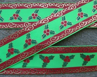 "1"" Christmas Ornament Ribbon Holiday Ribbon Grosgrain Ribbon Hair Bow Ribbon 3 yards craft supplies ribbon by the yard"