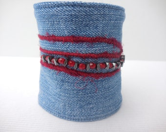 Red Bead Denim Cuff, glass beads and red yarn embellishment, recycled jeans bracelet, earth friendly, vintage jean jewelry, for 6 1/4+ wrist
