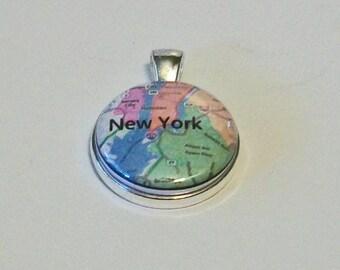 Sentimental New York City Map Round Silver Pendant