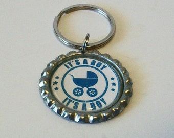 Cute Blue and White It's a Boy Baby Carriage Gender Reveal Metal Flattened Bottlecap Keychain Great Gift