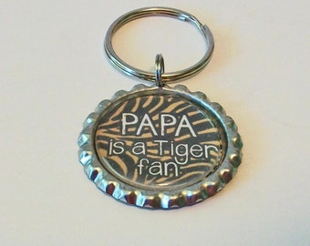 Black and Gold Tiger Stripe Papa is a Tiger Fan Grandfather Metal Flattened Bottlecap Keychain Great Gift