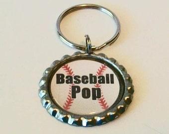 Unique Baseball Pop Grandfather Metal Flattened Bottlecap Keychain Great Gift