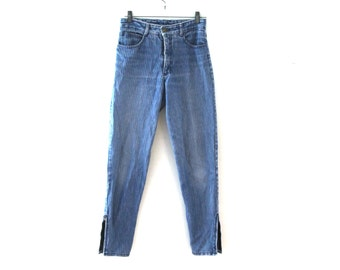 Vintage 80s Guess jeans pinstripeed denim zippered ankles guess georges marciano