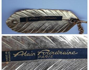 Vintage ALAIN FOURDRAINE PARIS Belt, Metal Chain & Ormolu Tin Leaf, Love Style Freedom, Made in France, 70's