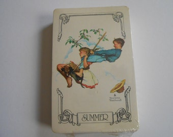 Vintage Sealed Norman Rockwell Summer Complete Deck Playing Cards By Trump