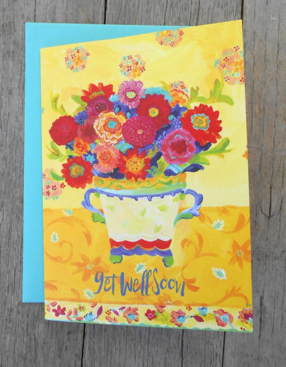 Nasturtium get well soon greeting card by Kimberly Hodges, get well card, cheery get well soon card, nasturtiums, pretty, fun, happy card