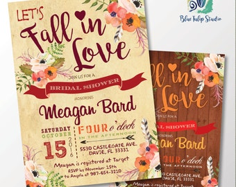Fall in Love Bridal Shower Invitation. DIY card. Digital Printable card