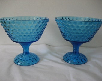 Pattern Glass  Raindrop.Pair of large compotes in Saphire Blue