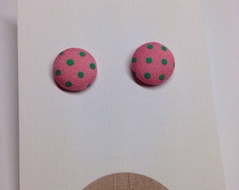 Pink/Mint Retro Fabric Covered Polka Dot Stud Earrings Surgical Stainless Steel