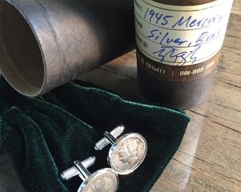 Heads and Tails 1945 Mercury Dime Cufflinks - Free Shipping in US