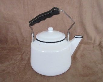 Vintage Enamel Tea Pot, Tea Kettle, White with Black, Rustic, Farmhouse