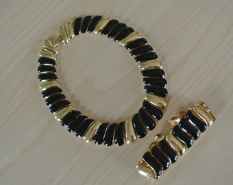 Monet Estate Jewelry Necklace and Bracelet Set Gold and Black Signed/Gift for Her