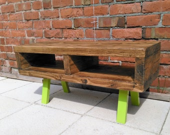 Tv stand contemporary rustic industrial tv unit or coffee table legs finished in a funky Apple Green