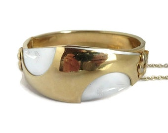 Two Tone Hinged Cuff, Vintage Gold Tone Bracelet, Abstract Design Safety Chain Birthday Gift