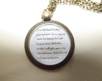 Corpse Bride Wedding Vow Pendant and chain Gift marriage promise Tim Burton