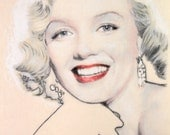 One-off hand-drawn portrait of Marilyn Monroe, in charcoal and pastel on calico